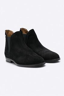 Botine moderne de fete, din piele intoarsa, negre de firma pentru iarna - Gant