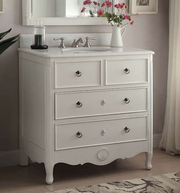adelina 34 inch vintage bathroom vanity antique white finish