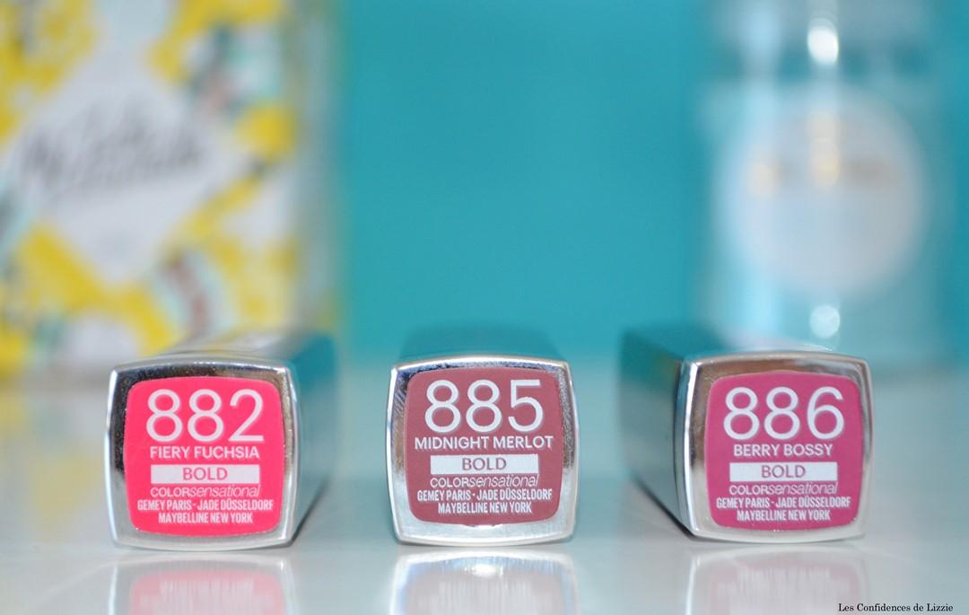 maybelline - rouges a levres - rouges a levres baton - teintes intenses - couleurs vives