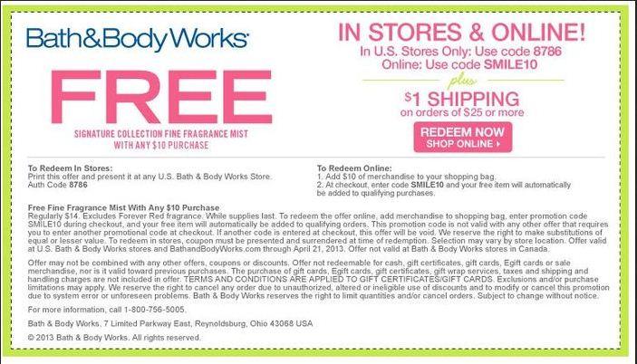 Bath And Body Works Printable Coupon May 2013