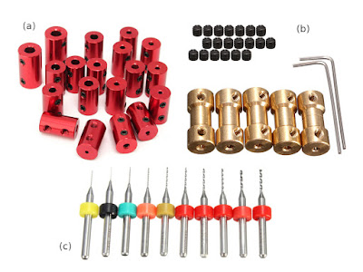 Types of shaft couplers: aluminium (a) and brass (b); fixed 3.175mm shank drill bits for PCB (c)
