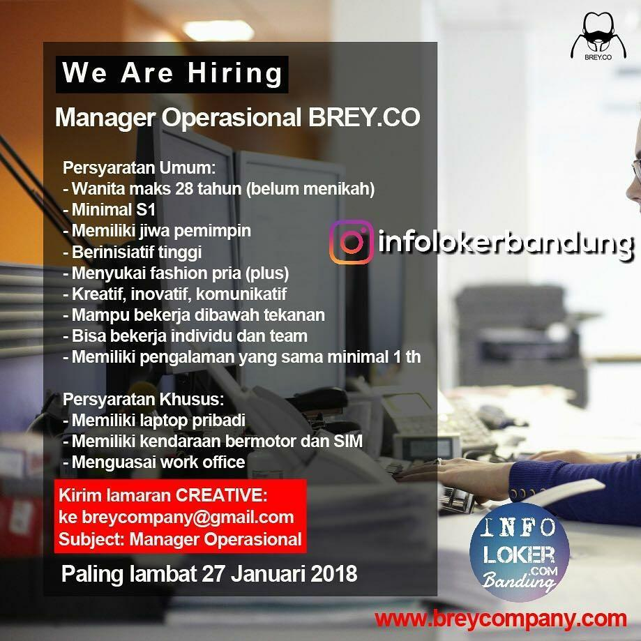 Lowongan Kerja Manager Operasional Brey.CO Bandung Januari 2018