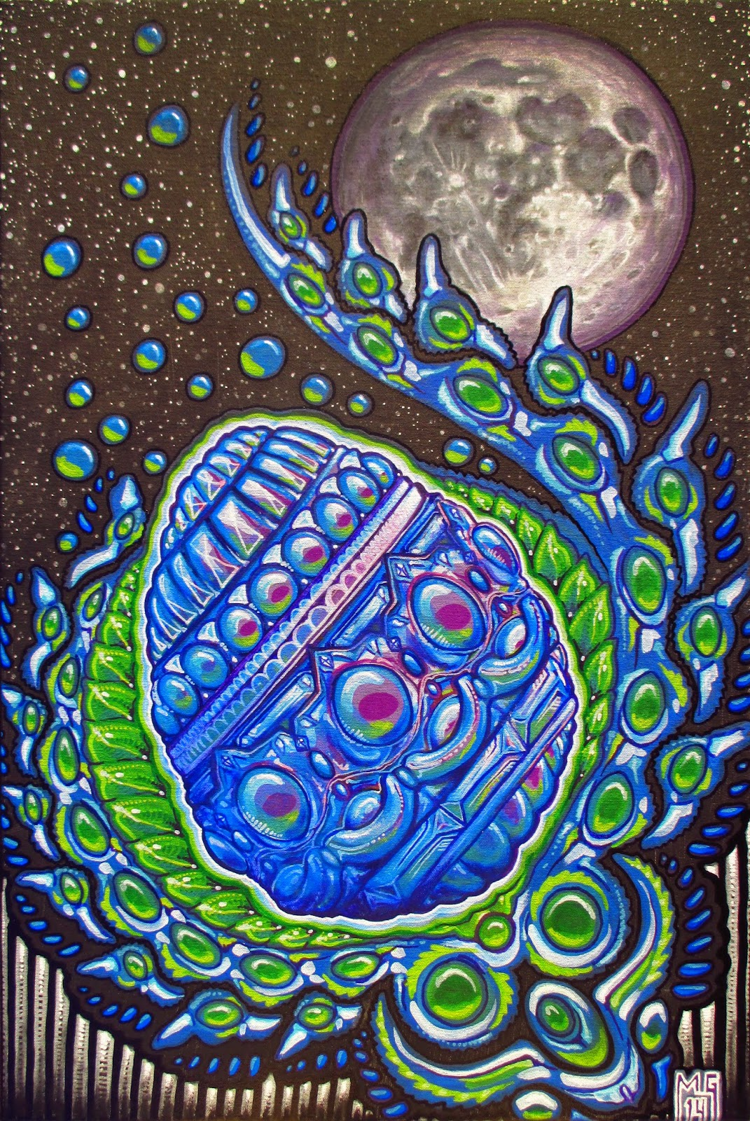 Michael Garfield How To Live In The Future 2014 Giant Atx Se 2 S Blue Wht Gry Crystal Moon Egg Bathes Silver Light