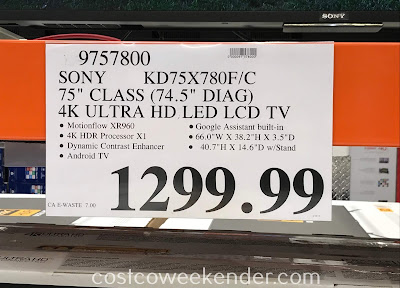Costco 9757800 - Deal for the Sony KD-75X780F 75in 4k Ultra HD TV at Costco