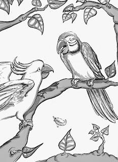 Papagei, Kakadu, Kinderbuchillustration, Strichzeichnung