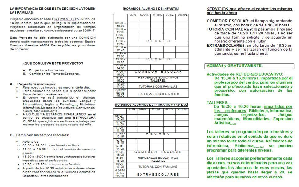 Ceip rom n garc a tr ptico proyecto tiempos escolares - Proyecto de comedor escolar ...