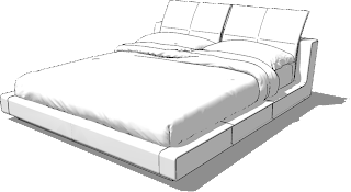 sketchup model double bed #9a