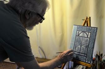 Carlos Suarez (Sarlanga) - O artista em seu atelier em São Pedro da Serra