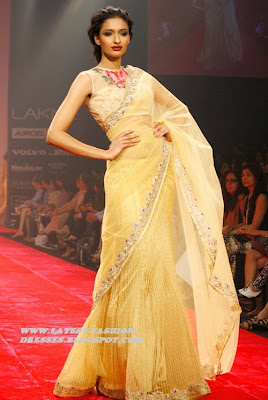 FASHION SHOW WEEK  NEW FRILLED YELLOW SAREE