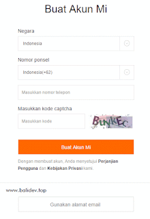 Registrasi Mi Akun