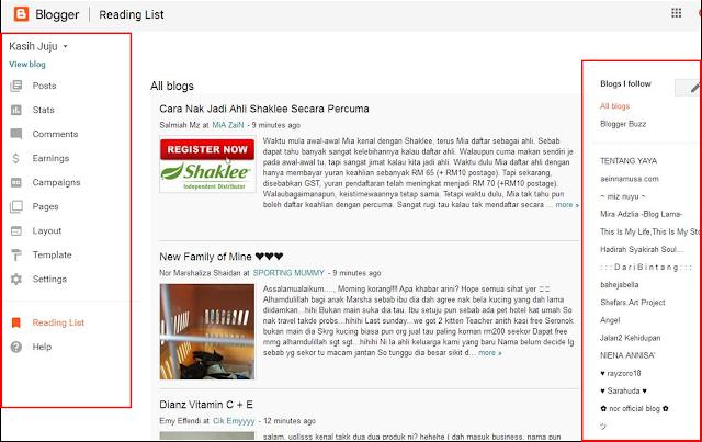 Dashboard blog bertukar wajah