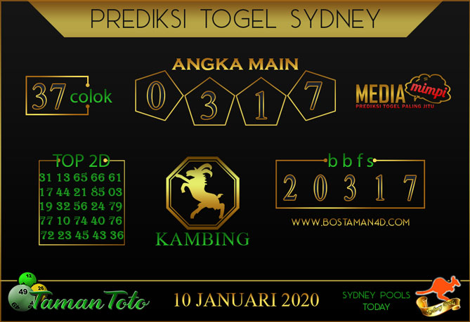 Prediksi Togel SYDNEY TAMAN TOTO 10 JANUARI 2020