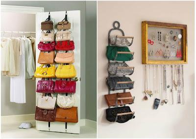 10 maneras ingeniosas de c mo organizar bolsos y carteras - Percheros para bolsos ...
