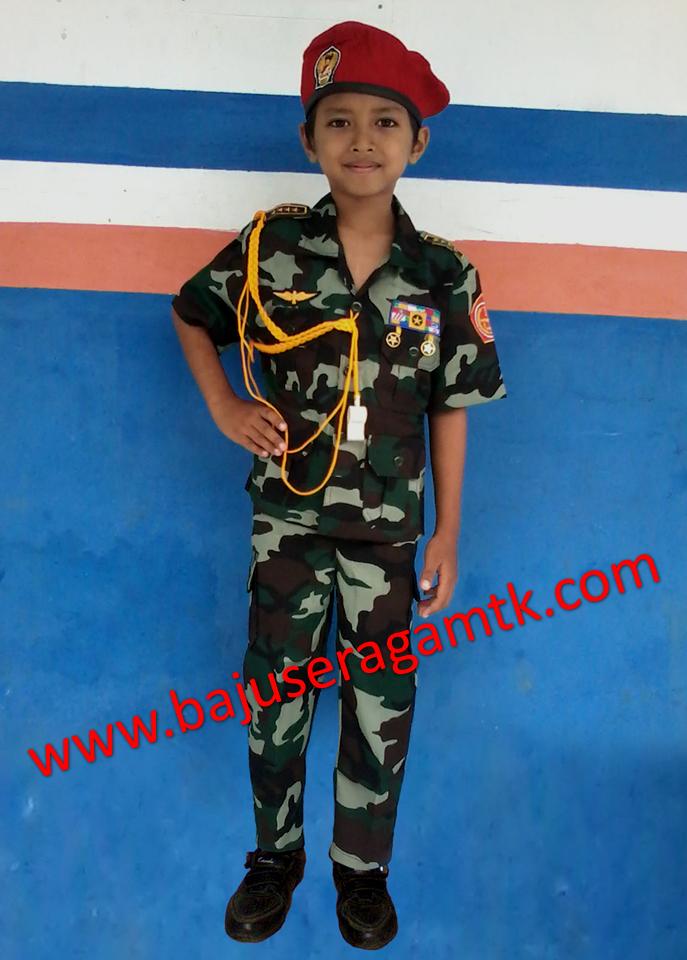 Jual kostum anak militer akabri tentara baret merah