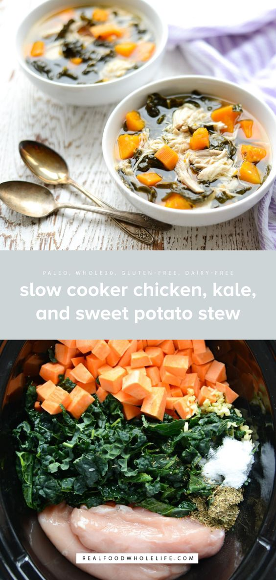 Slow Cooker Chicken, Kale, and Sweet Potato Stew is packed with protein and veggies and is so easy to make with a short list of simple ingredients. Your new paleo, gluten-free, dairy-free, whole30, healthy go-to recipe!  #realfoodwholelife #realfoodwholeliferecipe #whole30recipe #crockpot #glutenfree #dairyfree #crockpotrecipe #simple #easy #healthy #cleaneating #paleo #septemberwhole30 #whole30 #slowcooker #slowcookerrecipe #chicken #kale #sweetpotatoes