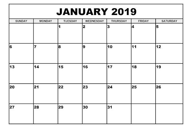 January 2019 A4 Calendar