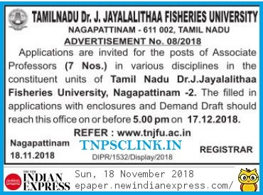 Tamil Nadu Dr. J. Jayalalitha Fisheries University Assistant Professor Recruitment 2018