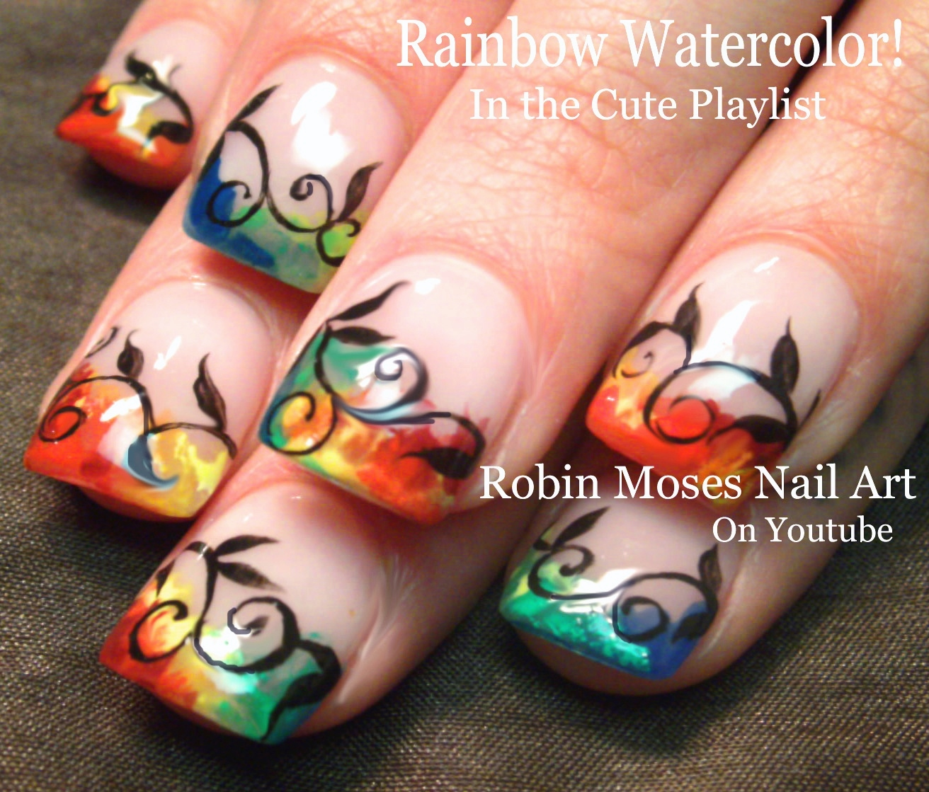 Nail Art by Robin Moses: Rainbow Watercolor Nails