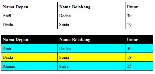 contoh tabel HTML dengan warna warni