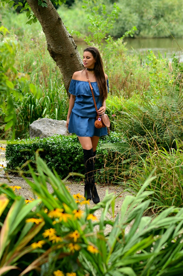 Tamara Chloé, Off The Shoulder Denim Dress, Chloé mini marcie bag, Over The knee boots, Unisa boots, Lace choker, TC Style Clues