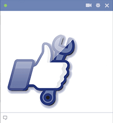Facebook hand and wrench icon