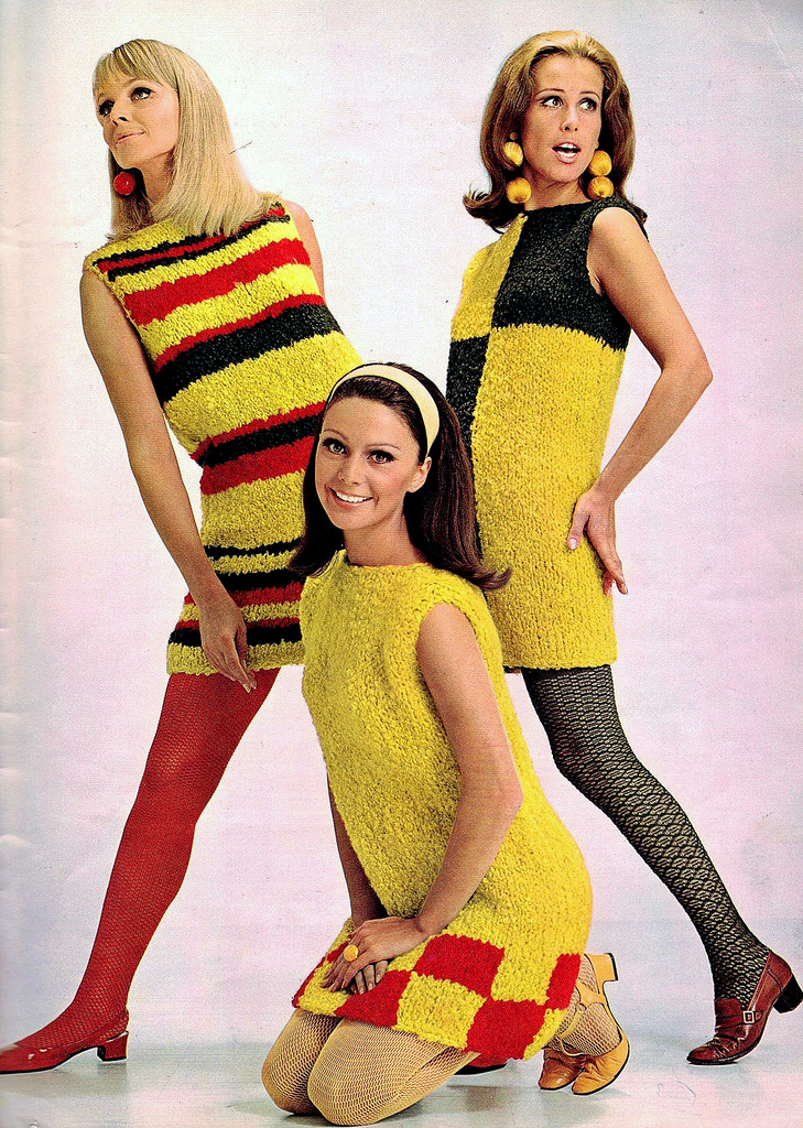 colorful womens knitting sweaters of the 1960s vintage