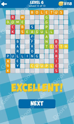 Cheats, Solutions for Level 6 in 13 Word Connect by Second Gear Games