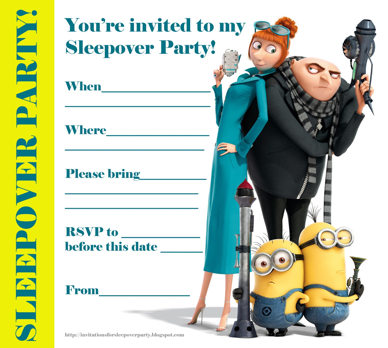 graphic about Minions Invitations Printable called Invites FOR SLEEPOVER Celebration