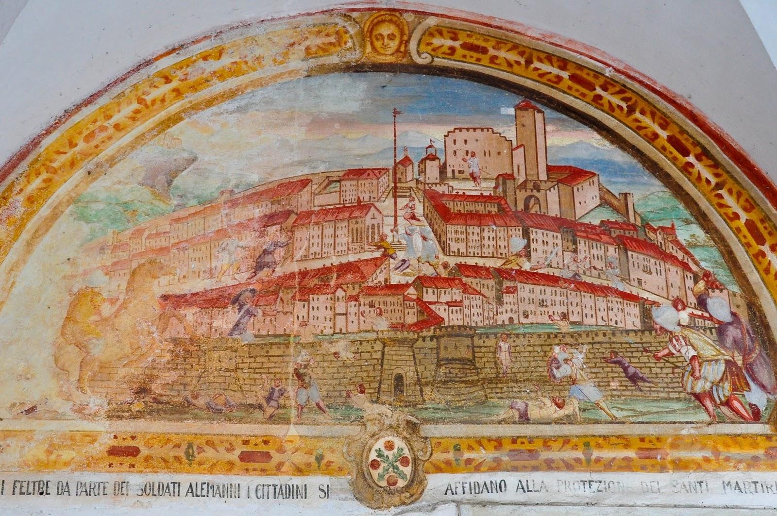 Frescoes, Cloister, Sanctuary of St. St. Vittore e Corona, Feltre, Veneto, Italy