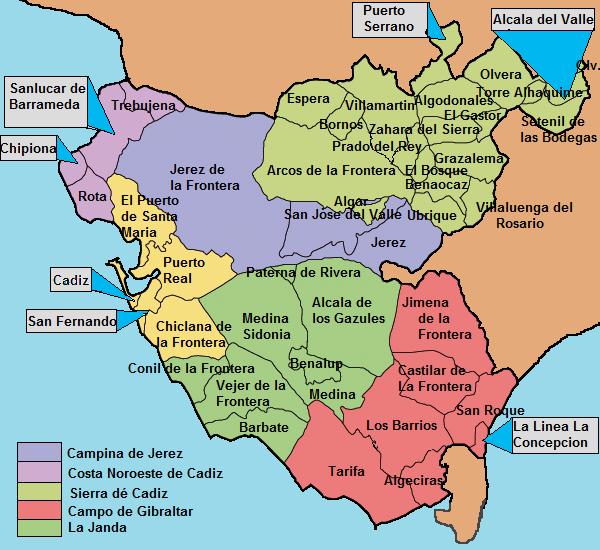 Mapa Pueblos Blancos Cadiz.Pueblos De Cadiz Mapa Mapa