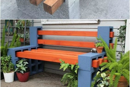 Awesome DIY Outdoor Bench Projects From Concrete Blocks & Wooden Slats