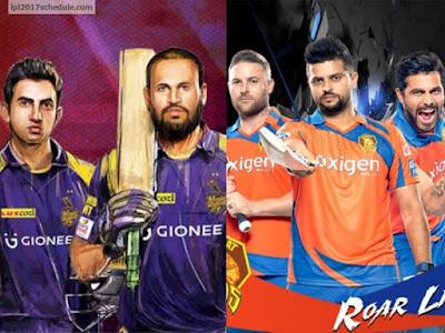 Gujarat Lions(GL) vs Kolkata Knight Riders(KKR)