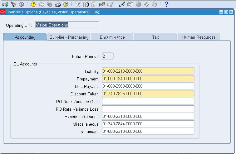 Oracle Financials Setup explaination: Financial Options