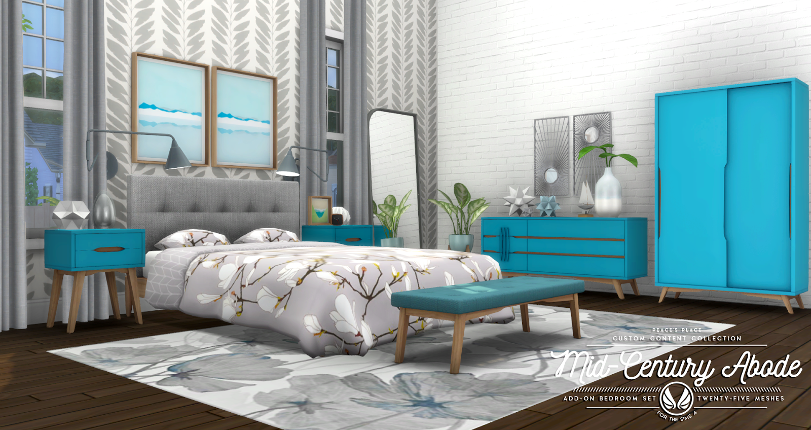 simsational designs mid century abode add on bedroom set