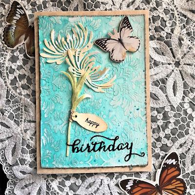 Sara Emily Barker https://sarascloset1.blogspot.com/ Quick and Easy Mixed Media Birthday Card Sizzix Tim Holtz Wildflower Stems 1