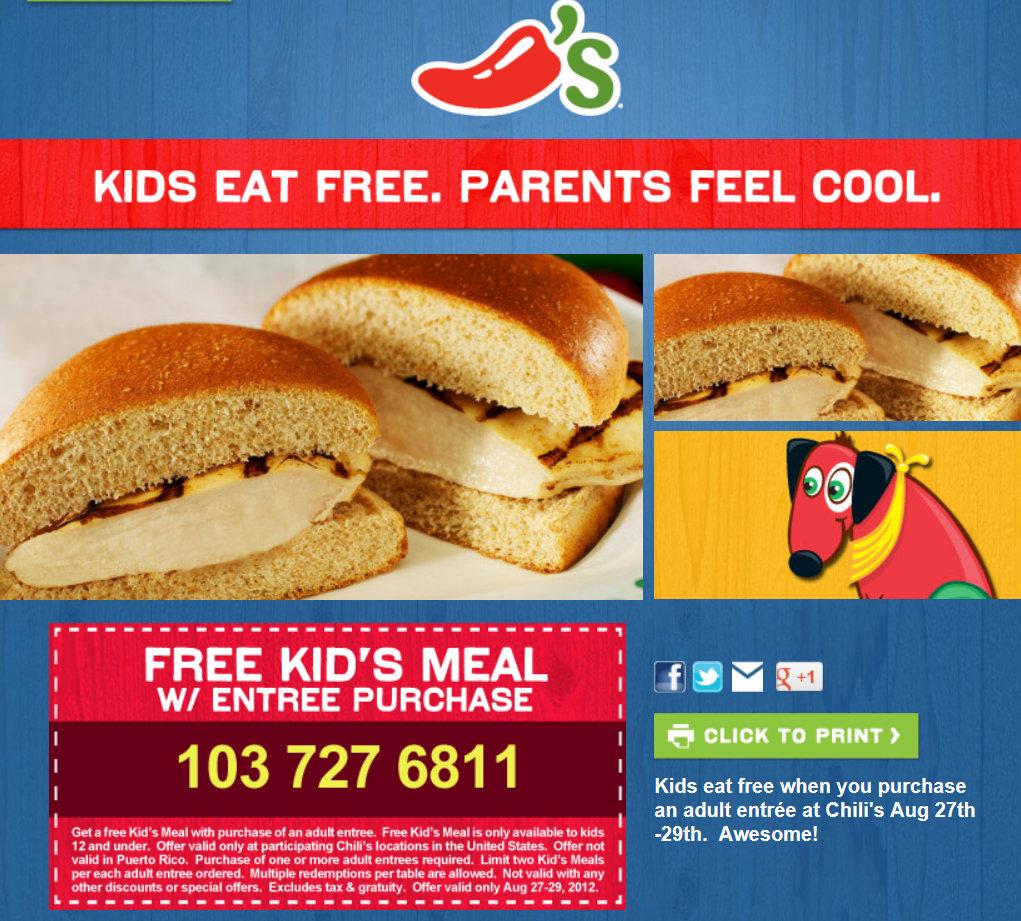Barbara's Beat: Kids Eat Free At Chili's 8/29