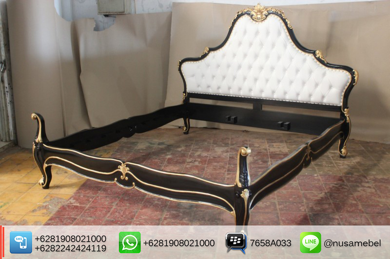 Black-Gold Louis XV Bedroom Furniture Maryono