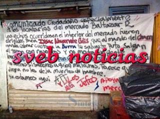 Amanece narcomanta colgada dentro de mercado de Chilpancingo Guerrero