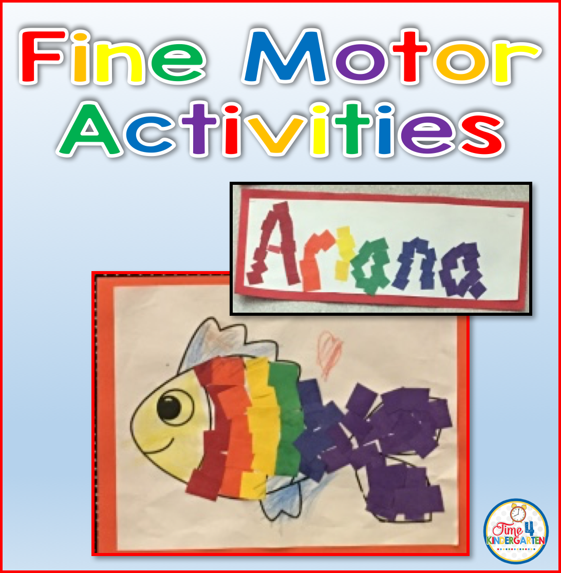 time 4 kindergarten fine motor activities with rainbow names and fish. Black Bedroom Furniture Sets. Home Design Ideas