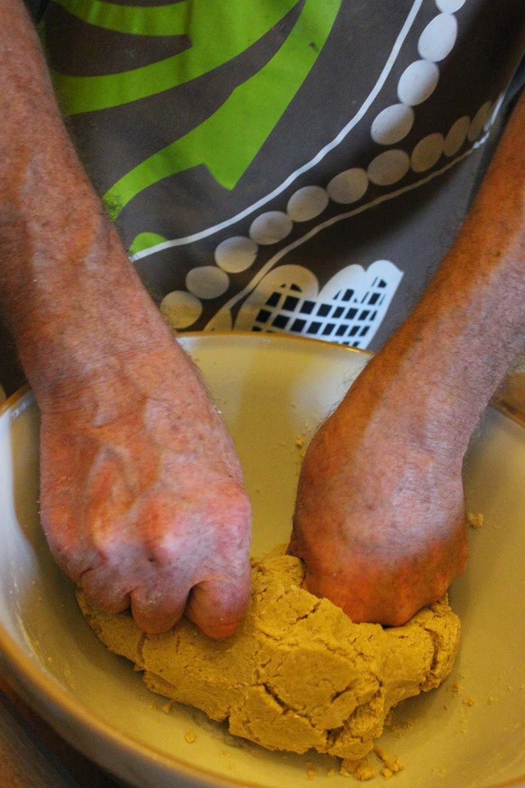kneading the organic Scottish oatcake dough
