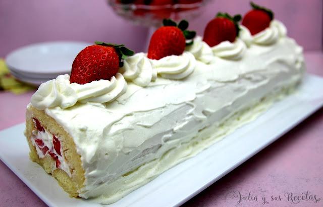 Brazo de fresas con nata. Julia y sus recetas