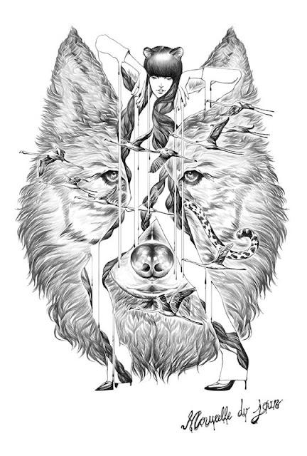 Dibujo a lápiz de un lobo y mujer
