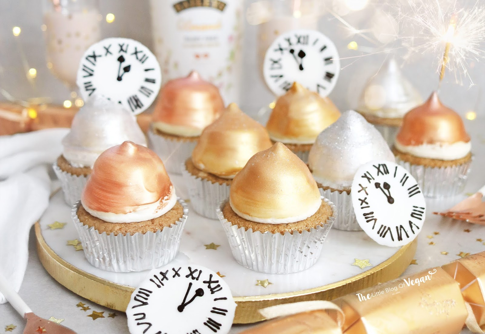 White chocolate Baileys New Year cupcakes