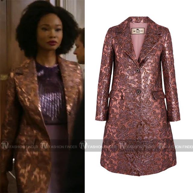 906a9e78 Monica Colby in shiny metallic jacquard coat etro dynasty season 1 fashion