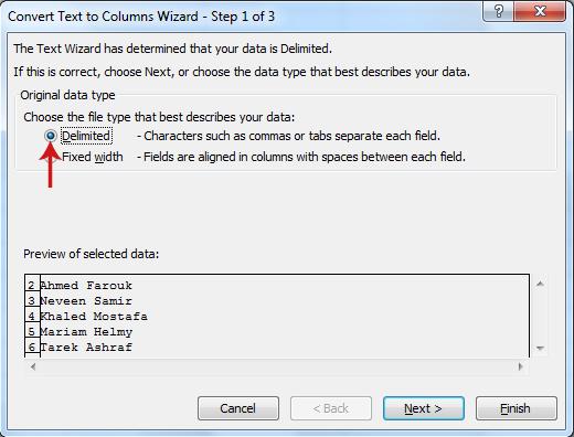 تقسيم الخلية في Excel