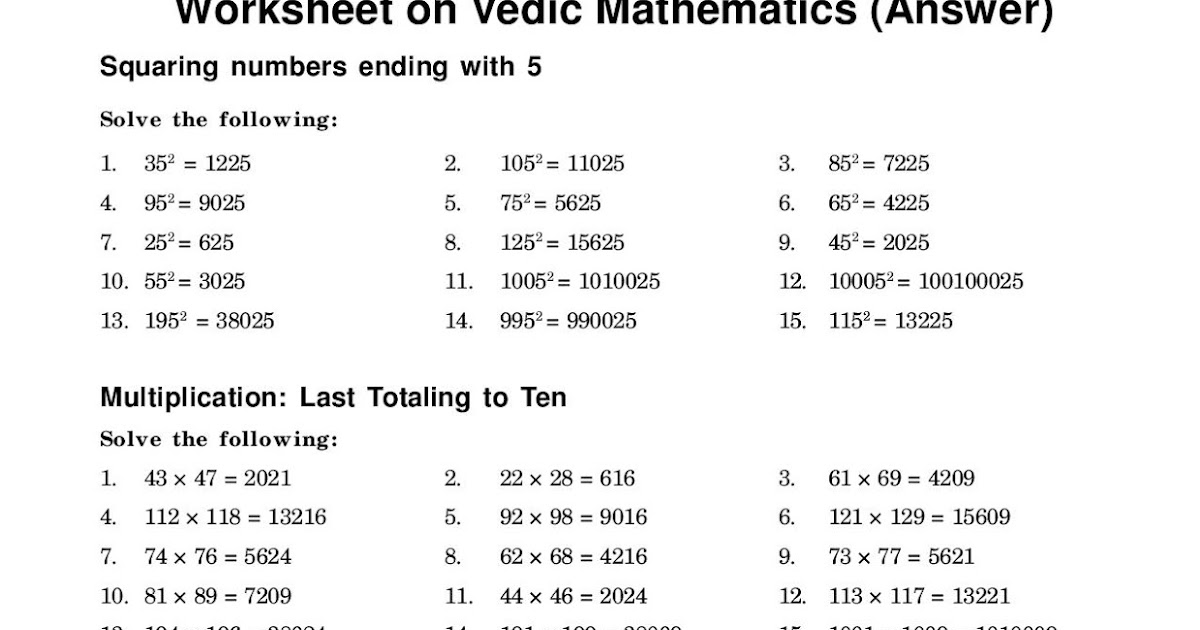 Maths4all: Answer of Worksheet Vedic Maths for SPV