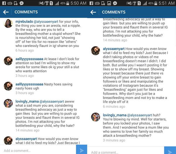 hateful IG comments - breastfeeding_selfie - breastfeeding cyberbullying - motherhood