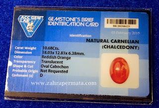 Batu Permata Red Carnelian + Memo - ZP 337