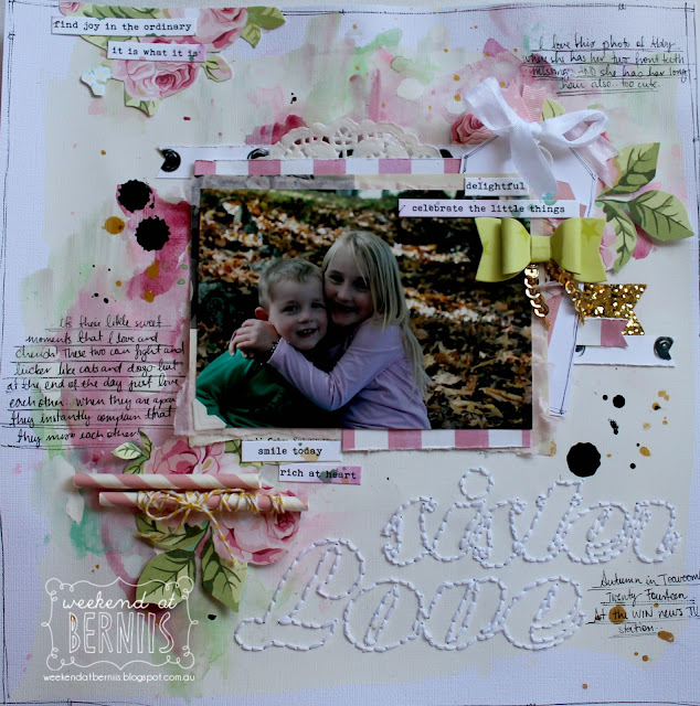 """Sister Love"" layout by Bernii Miller for Sugar Maple Paper Co using the Cake for Breakfast kit."