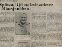 De kranige Elisa Vandewiele 1890-1993, gevierd als honderdjarige